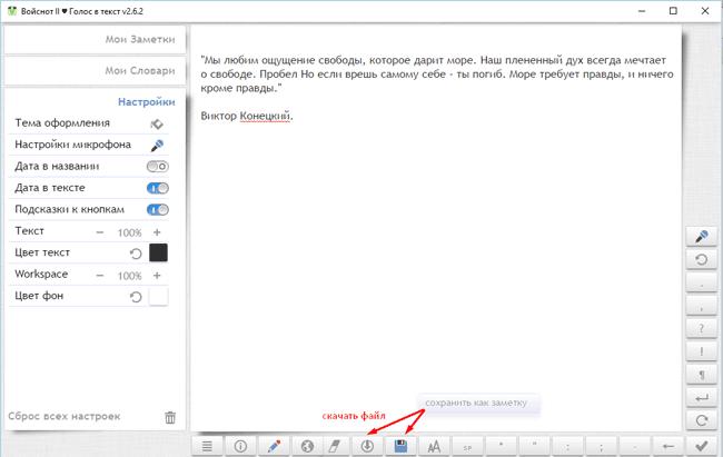 функции и кнопочки приложения голос в текст